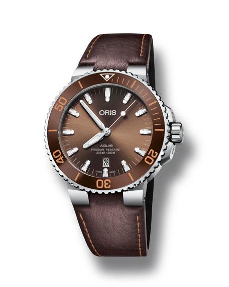 Oris Men's 43.5mm Aquis Automatic Watch, Brown/Steel