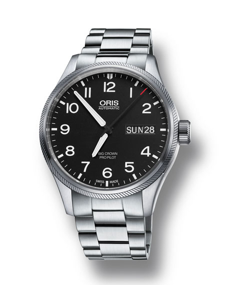 Oris Men's 45mm Big Crown Propilot Day-Date Watch, Black/Steel