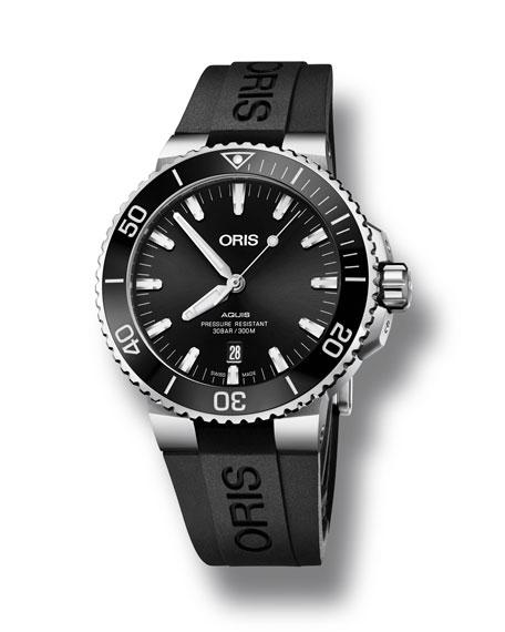 Oris Men's 43.5mm Aquis Automatic Watch, Black/Steel