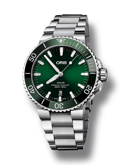 Oris Men's 43.5mm Aquis Automatic Bracelet Watch, Green/Steel