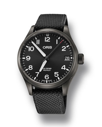 Men's 41mm Propilot Watch w/ Textile Strap  Black