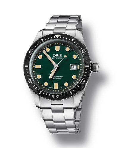 Men's 42mm Diver Watch w/ Bracelet Strap  Green/Steel