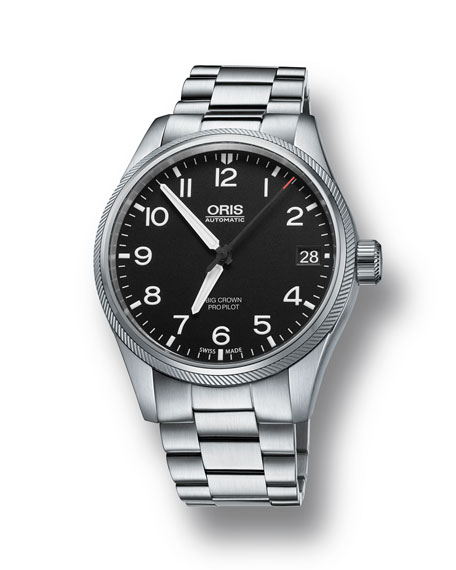 Oris Men's 41mm Propilot Bracelet Watch, Black/Steel