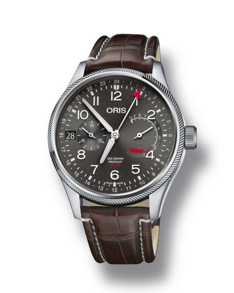 Oris Men's 44mm Propilot Chronograph Watch, Gray/Brown