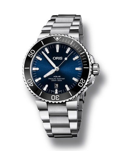 Men's 43.5mm Aquis Automatic Bracelet Watch  Blue/Steel