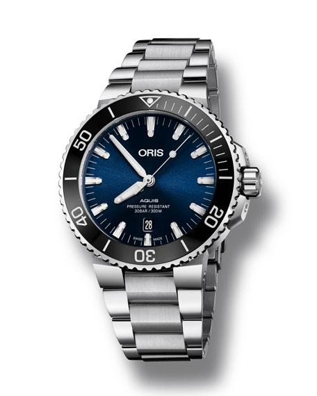 Oris Men's 43.5mm Aquis Automatic Bracelet Watch, Blue/Steel