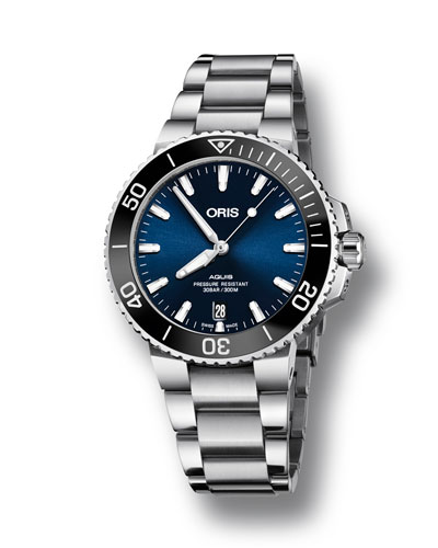 Men's 39.5mm Aquis Automatic Bracelet Watch  Blue/Steel