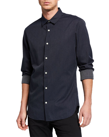 Image 1 of 2: Vince Men's Mini Foulard Print Long-Sleeve Sport Shirt