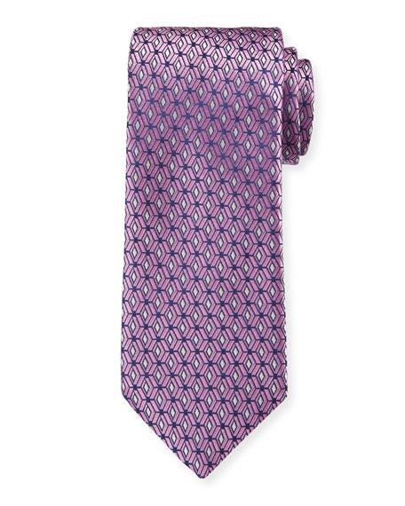 Canali Men's 3D Diamonds Silk Tie, Pink