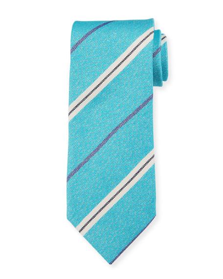 Canali Men's Warp-Stripe Silk Tie, Aqua/White