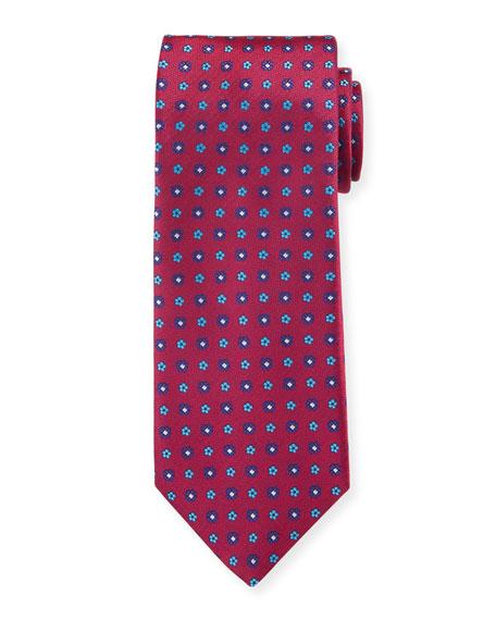 Canali Men's Woven Micro Flower Silk Tie, Red