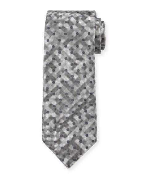 Canali Men's Silk Parquet with Dot Tie