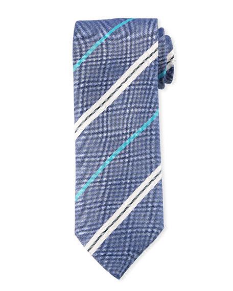 Canali Men's Warp-Stripe Silk Tie, Blue/White