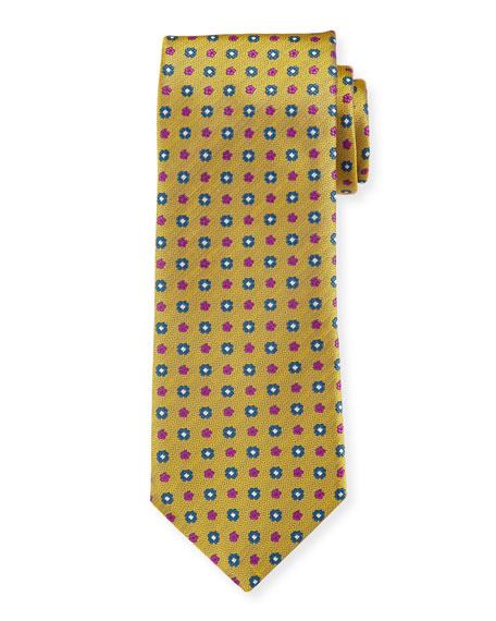 Canali Men's Woven Micro Flower Silk Tie, Gold