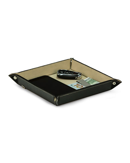 Bey-Berk Square Leather Valet Tray