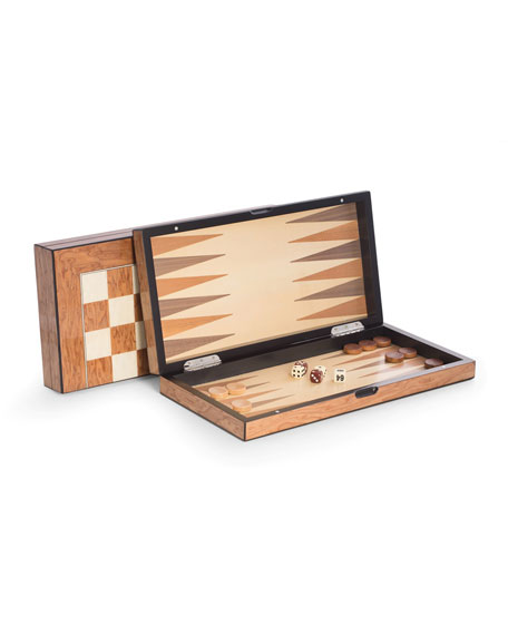 Bey-Berk Lacquer-Finished Travel Game Set, Brown