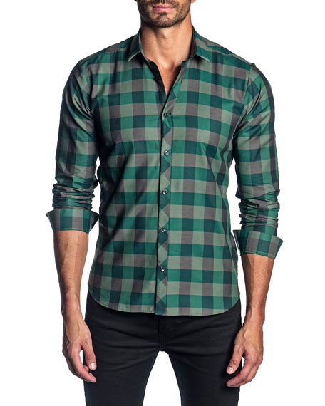 Jared Lang Men's Long-Sleeve Check Sport Shirt
