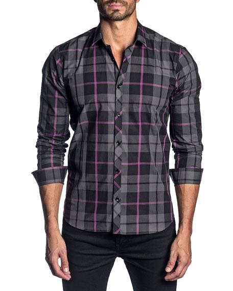 Jared Lang Men's Long-Sleeve Plaid Sport Shirt