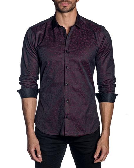 Jared Lang Men's Long-Sleeve Graphic Print Sport Shirt