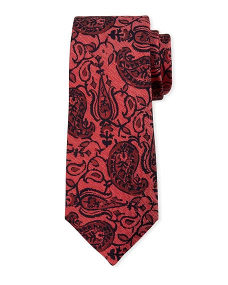 Kiton Paisley on Chevron Silk Tie, Red