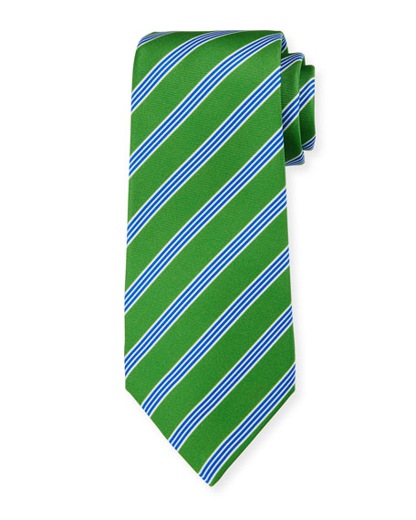 Kiton Men's Triple-Stripe Silk Tie, Green