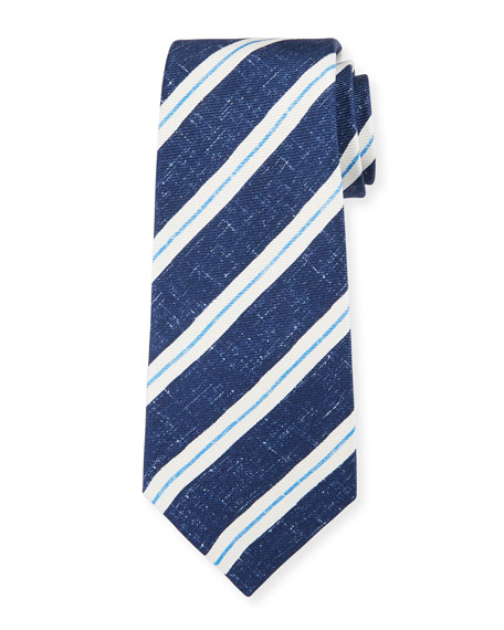 Kiton Men's Linen-Look Stripe Silk Tie, Navy