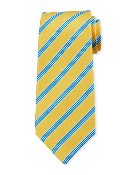 Kiton Men's Triple-Stripe Silk Tie, Yellow