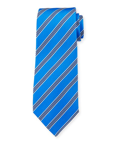Kiton Men's Triple-Stripe Silk Tie, Blue