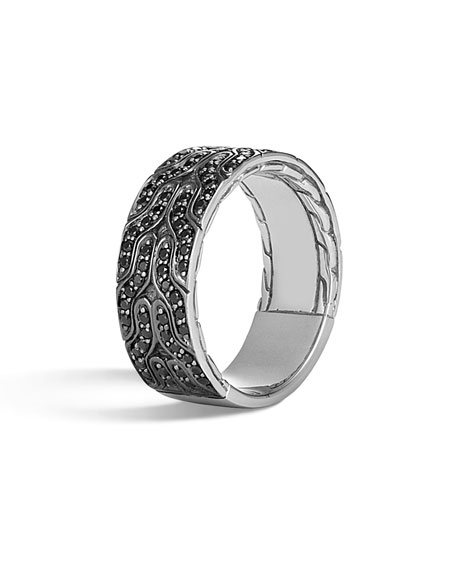 John Hardy Men's Classic Chain 18K White Gold Band Ring w/ Black Sapphires
