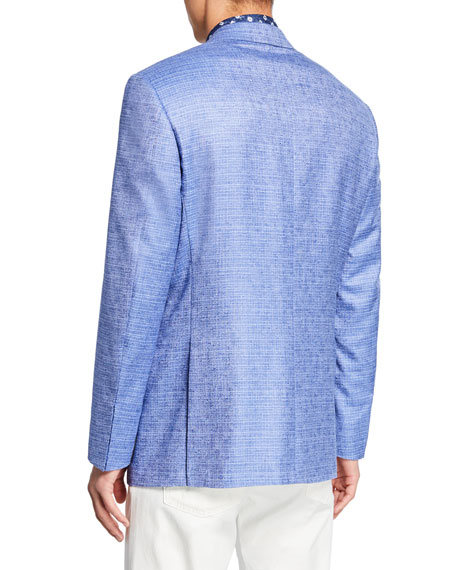 Canali Men's Tonal Check Two-Button Silk/Cashmere Jacket