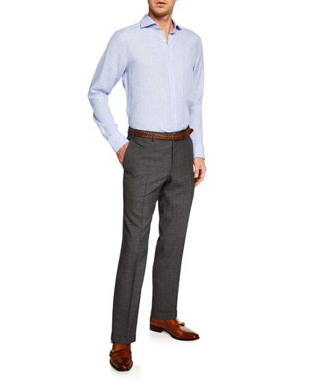 Canali Men's Melange Dress Trousers