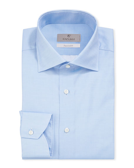 Canali Men's Impeccabile Basic Twill Dress Shirt, Blue