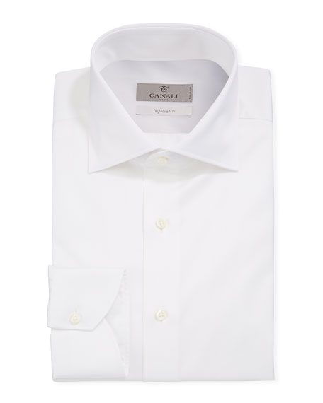 Canali Men's Impeccabile Basic Twill Dress Shirt, White