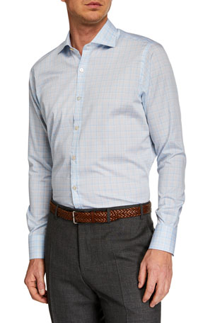 Canali Men's Multi-Check Long-Sleeve Dress Shirt