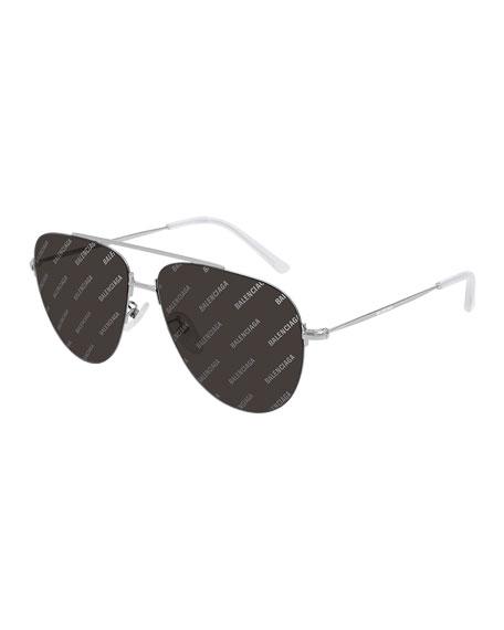 Balenciaga Men's Lightweight Metal Pilot Aviator Sunglasses