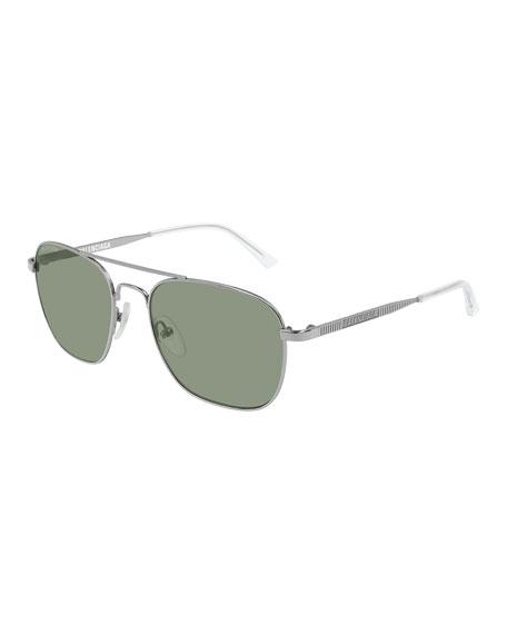 Balenciaga Men's Man Metal Aviator Sunglasses