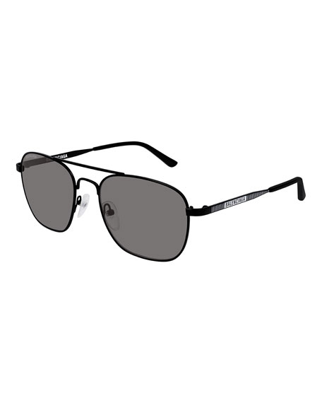 Balenciaga Men's Aviator Man Metal Sunglasses