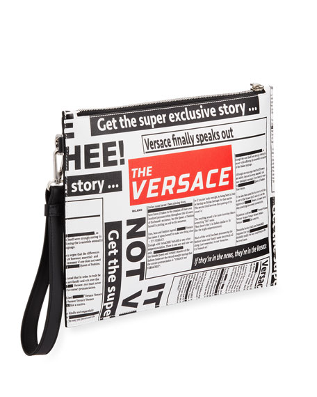 Versace Men's Tabloid Print Pouch Bag