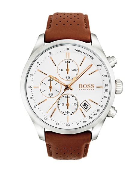 Hugo Boss Men's Grand Prix Chronograph Watch with Leather Strap, White/Brown