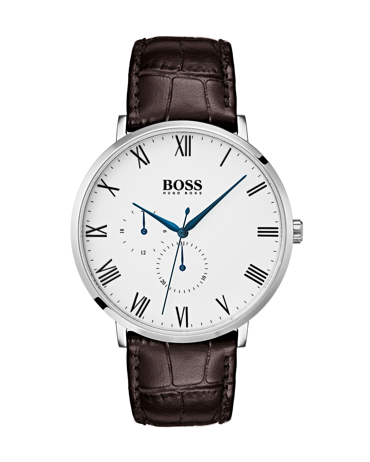 451e37e33 Hugo Boss Men's William Analog Watch with Leather Strap, White/Brown ...