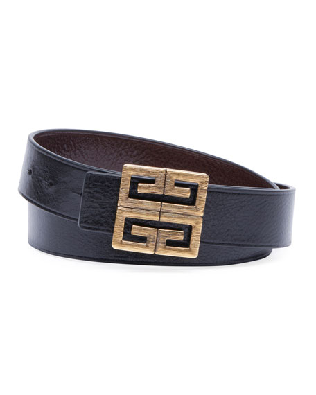 Givenchy Men's 4-G Buckle Reversible Leather Belt