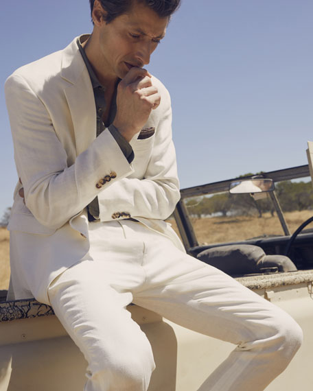 Image 2 of 6: Men's Chevron Panama Two-Piece Linen Suit
