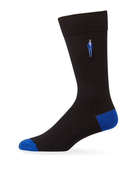 Paul Smith Men's Embroidered People Graphic Socks