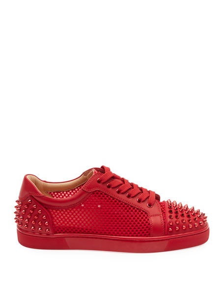 Christian Louboutin Men's Seavaste Spiked Leather Low-Top Sneakers