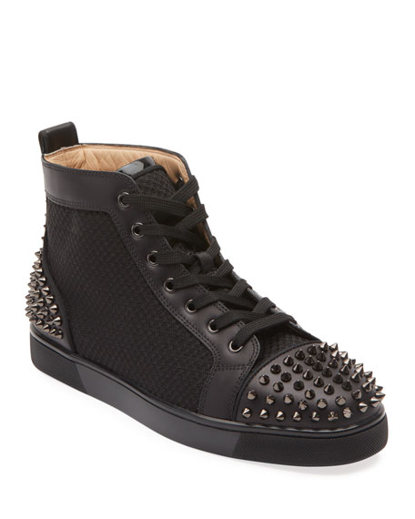 Christian Louboutin Men's Lou Spiked Leather High-Top Sneakers