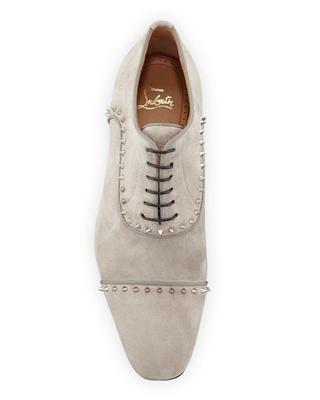 Christian Louboutin Men's Eton Spiked Suede Oxford Shoes