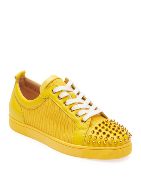 Christian Louboutin Men's Louis Junior Spiked Sneakers In Yellow