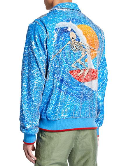 Ovadia & Sons Men's x Stanley Mouse Skeleton Surfer Graphic Sequined Jacket