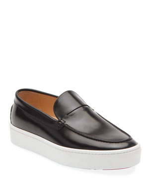 acfbfbee03953 Christian Louboutin Men's Paque Boat Leather Slip-On Sneakers