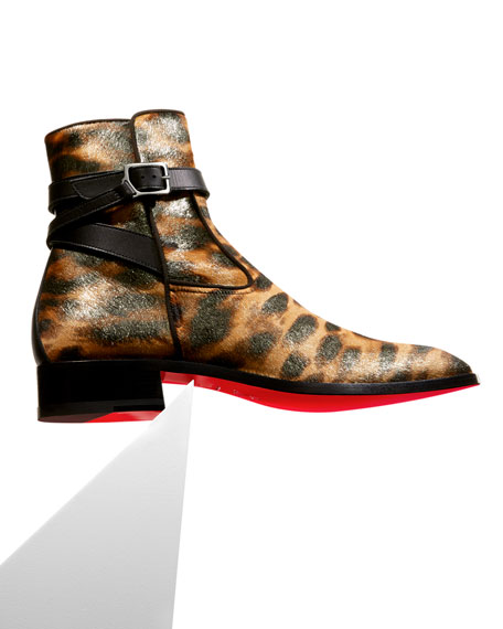 Image 2 of 4: Christian Louboutin Men's Kicko Leopard-Print Red Sole Boots